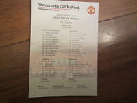 2013-14 PREMIERSHIP MANCHESTER UNITED v HULL  CITY OFFICIAL COLOUR TEAM SHEET
