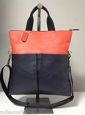 Coach Foldover Smooth Leather Crossboby Tote Bag in Midnight Blue/Orange F71722