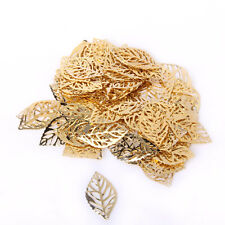 Lot/ 100pcs Alloy Golden Pierced Tree Leaves DIY Earring Jewelry Making Crafts
