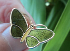 Norwegian Silver Yellow & Green Enamel Butterfly Brooch - Aksel Holmsen Norway