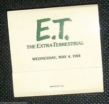 E.T. THE EXTRA-TERRESTRIAL WEDNESDAY, MAY 4, 1988 Matchbook Rare!!