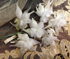 VINTAGE Silk Organza Velvet 1940s FLOWERS WHITE ORCHIDS 1 Spray Hand Wrapped