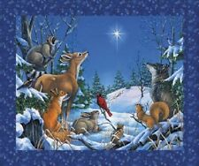 Woodland Winter Christmas Animals 100% Cotton Quilting Fabric Panel Northcott