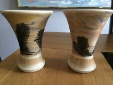Hand painted Tim Irving little Boscastle Pottery 2 X Tree Vases