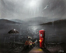 100%HAND-PAINTED ART  OIL PAINTING Cartoon  Robot Seascape 16X20INCH signed