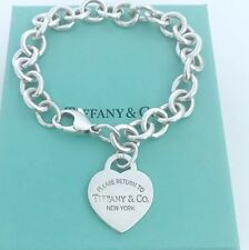 New Please Return To Tiffany Co Sterling  Heart Tag Charm Bracelet 7.5""