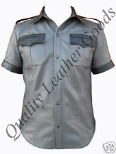 NAPPA LEATHER HIGHWAY PATROL POLICE MILITARY UNIFORM STYLE SHIRT MEDIUM 9cs