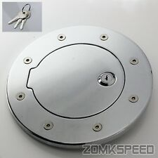 Chrome Billet Gas Fuel Filler Cap Door Cover w/ Lock For 03-09 Hummer H2 SUV/SUT