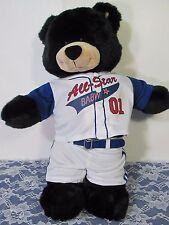 """Build A Bear 2004 Dimples Black Teddy Bear 16"""" & BAB All Star Baseball Uniform"""