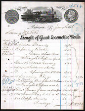 1878 Railroad Paterson NJ - Grant Locomotive Works -  Beautiful RARE Letter Head