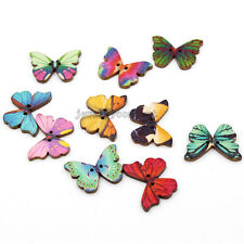 100pcs New Color Butterfly Sew On Wooden Buttons Perfect Design Makings J