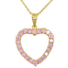 """14k Gold Plated Heart Love Pink Crystal Pendant Necklace 19"""""""