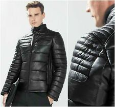 ZARA MAN 100% SHEEP SKIN QUILTED LEATHER BIKER FITTED MOTO JACKET SIZE S