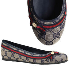 Sz 39 NEW $495 GUCCI Navy Canvas GG MAYFAIR Bow Ballerina Classic BALLET FLATS 9