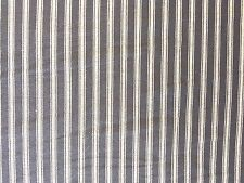 ST IVES NAVY NIGHT BLUE TICKING STRIPE WOVEN COTTON DRESSMAKING CURTAIN FABRIC