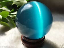 Hot Sell ASIAN QUARTZ BLUE CAT EYE CRYSTAL BALL SPHERE 40MM + STAND