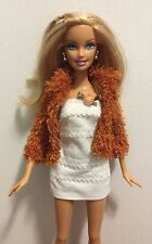 Mattel Barbie Doll Blonde in White Dress w/ Fuzzy Sparkle Rust Jacket and Boots
