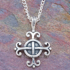"925 Sterling Silver CELTIC Irish Cross charm Pendant 24"" Necklace WISDOM on back"