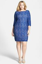 ADRIANNA PAPELL V-BACK  SCALLOPED LACE OVERLAY SHEATH PRUSSIAN BLUE DRESS sz 20