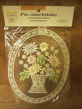 "Lace embroidery wall decor Fensterbilder German Window Picture–flowers, 6""oval"