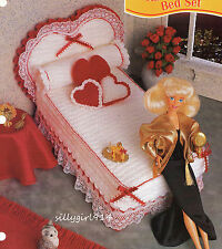 """""""HEART BED SET""""~Crochet PATTERN~PATTERN ONLY for BARBIE FASHION DOLL"""