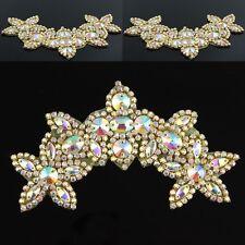Crystal AB Clear Rhinestone Bridal Dress Costume Trim Gold Tone Sew On Applique