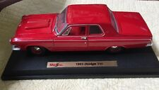 Maisto 1963 Dodge 330 Red Coupe Car Diecast 1:18 Replica Miniature GUC On Stand
