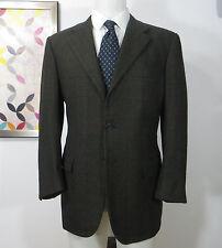 Kiton Napoli Cashmere green grey black orange red plaid sports coat jacket 40 R