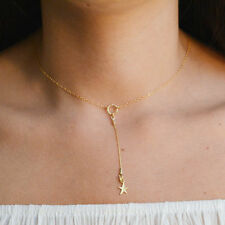 FASHION 14K Yellow Gold Filled LARIAT Necklace STAR DROP Chain Necklace