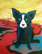 "Blue Dog George Rodrigue      ""Blue Dog on the River""   Lithograph   MAKE  OFFER"