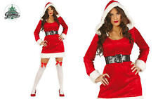 Ladies Sexy Miss Santa Christmas Hooded Velvet Fancy Dress Costume Outfit large