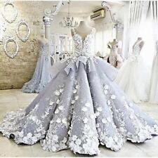 Neu Silber A-line Brautkleid Abendkleid 3D Applique Hochzeitskleider Ballkleider