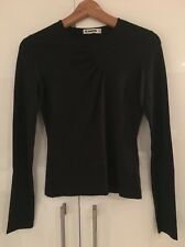 Jil Sander Black Stretch Silk Long Sleeved Top Shirt S Small