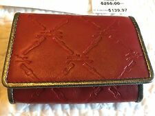 New Authentic Longchamps Red Silver Leather wallet purse Card Case $255 FRENCH