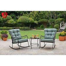 3 Piece Bistro Set Furniture Patio Table Outdoor Garden Yard 2 Rocking Chair