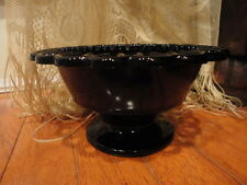 Black Amethyst Open Edge Pedestal or Compote Bowl Vintage