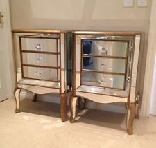 Pair Of Large Bronze Gold Venetian 3 Drawer Mirrored Glass Bedside Chest Table