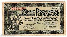Espagne SPAIN ESPANA BADAJOZ BONO 50 CENTIMOS 1937 CONSEJO PROVINCIAL