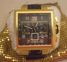 "Guy Laroche Swiss Made Gold Tone/Black Rubber Band ""CHRONOGRAPH"" Men's Watch"