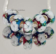 5pcs MURANO Lampwork charm Beads fit 925 silver European Bracelet Chain a765