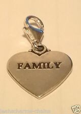 clip on FAMILY HEART STERLING SILVER CHARM PENDANT clasp SAB@ MOTHERS DAY
