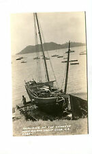 Vintage RPPC Postcard BALBOA YACHT CLUB CANAL ZONE  Repairing a CHINESE JUNK