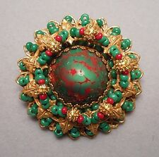 1950s Miriam Haskell Brooch - Faux Bloodstone Cabochon & Green Seed Bead Flower
