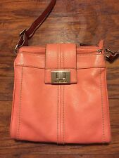 TIGNANELLO PINK LEATHER ORGANIZER,CROSS BODY/SHOULDER BAG PURSE