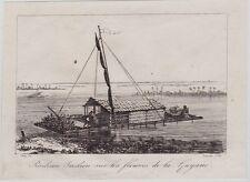 GRAVURE DE 1835  --  RADEAU INDIEN SUR LES FLEUVES DE LA GUYANE   3J431