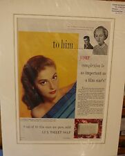 Original Vintage Advert mounted ready to frame Lux Toilet Soap 1957