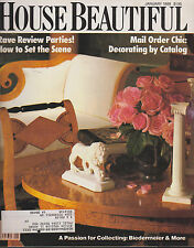 """HOUSE BEAUTIFUL MAGAZINE JANUARY 1988 *HOW TO SET THE SCENE/MAIL ORDER CHIC"""""""
