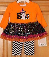 BONNIE JEAN BABY Infant Girls HALLOWEEN Top & Leggings 2-Pc Set 3-6 Mo Tutu BOO