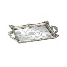 Vanity Tray Serving Silver Mirrored Antique Perfume Dresser Bathroom Handles NEW