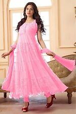 New Designer Light Pink Color Net Semi-Stitched Dress With Dupatta
